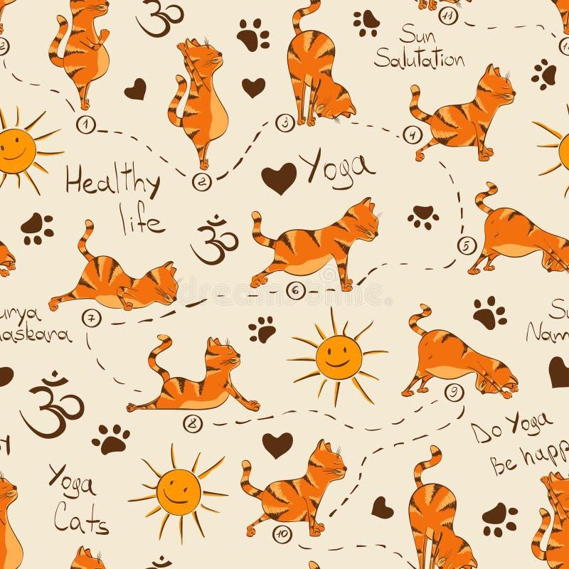 Seamless pattern with cat doing yoga position of Surya Namaskara. vector illustration