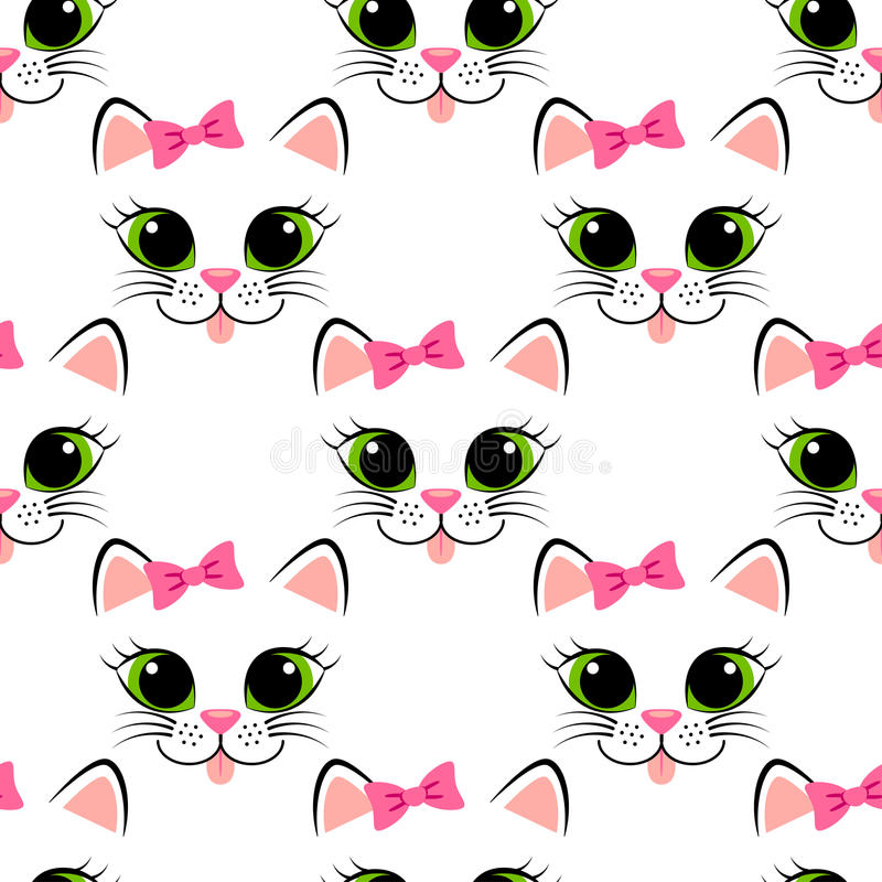 Seamless pattern with cat face. Cute white kitten with pink bow. Girlish background with kitty stock illustration
