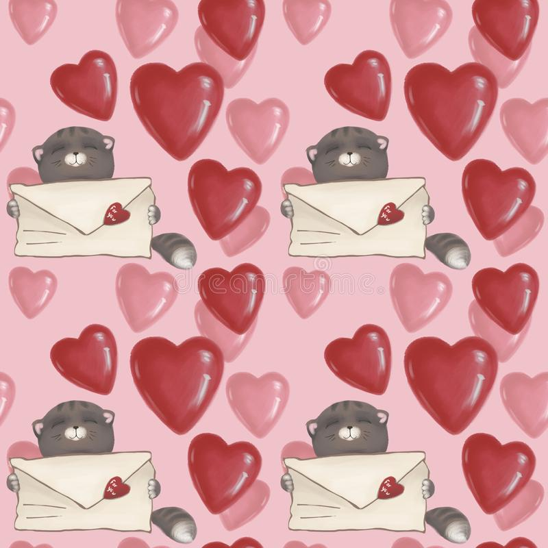 Seamless pattern. cat with a letter and hearts on the background. Pink wallpaper for Valentine`s day. stock illustration