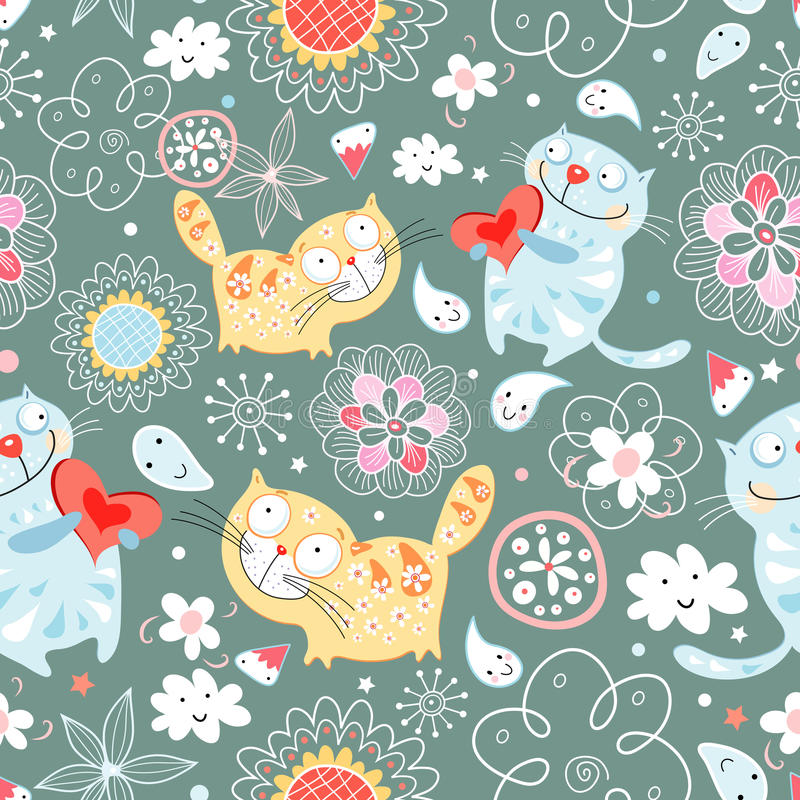 Seamless pattern of cat lovers royalty free illustration