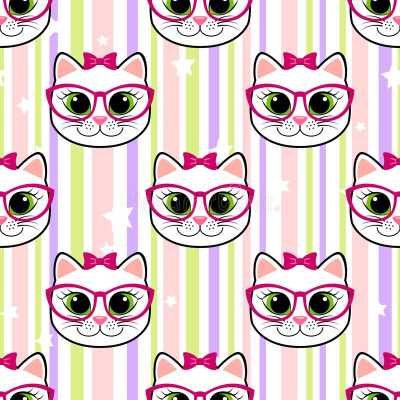 Seamless pattern with cat and stars. Vector illustration vector illustration
