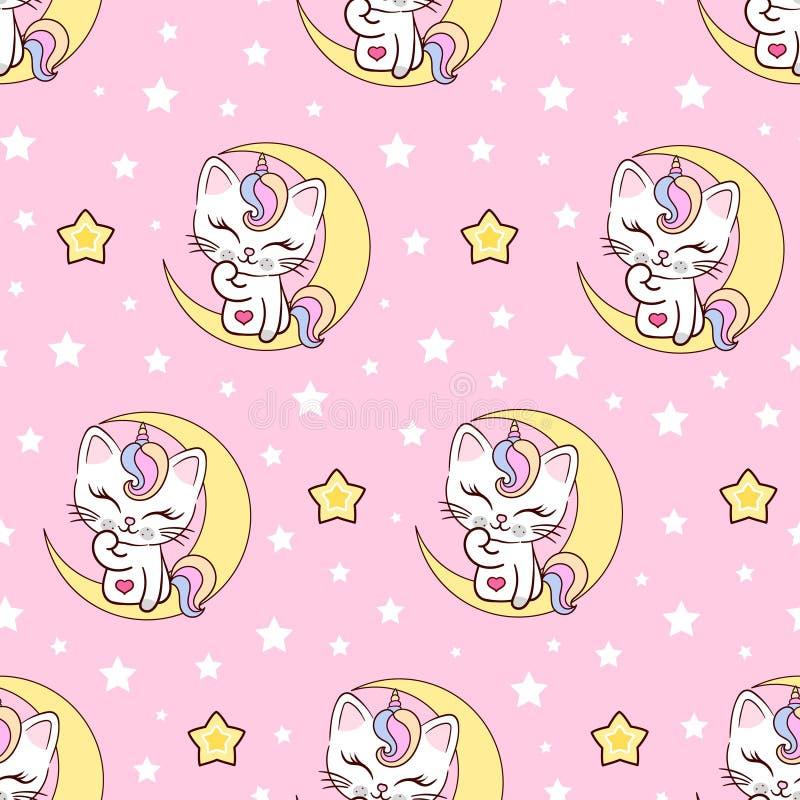 Free Seamless Pattern Cat Unicorn On The Moon. Vecto Stock Photo - 220424280