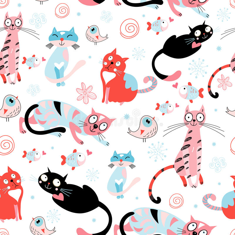 Seamless pattern of the cats royalty free illustration