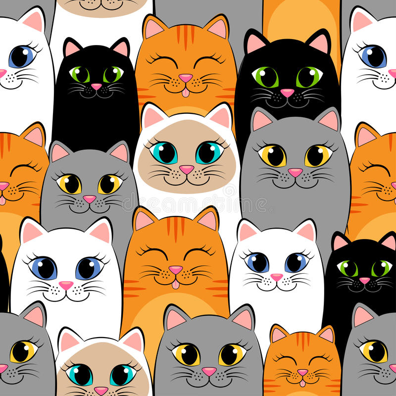 Seamless pattern with cats. Background with gray, white, black, ginger and siamese kittens royalty free illustration