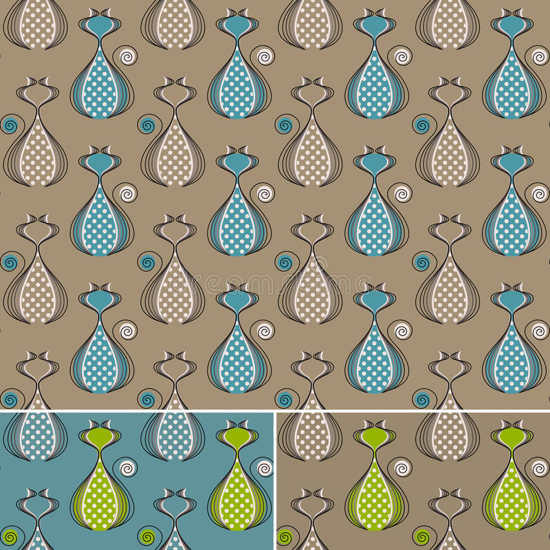 Seamless pattern with cats, blue, green, brown royalty free stock photography