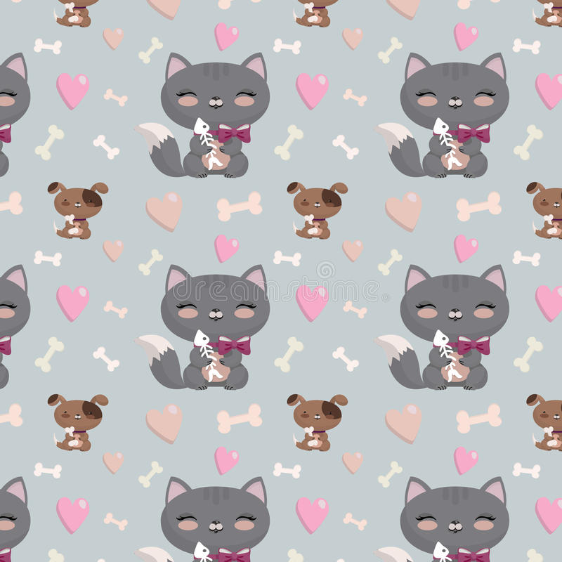Seamless pattern with cats and dogs. Lovely cartoon seamless pattern with cats and dogs, hearts,bones vector illustration