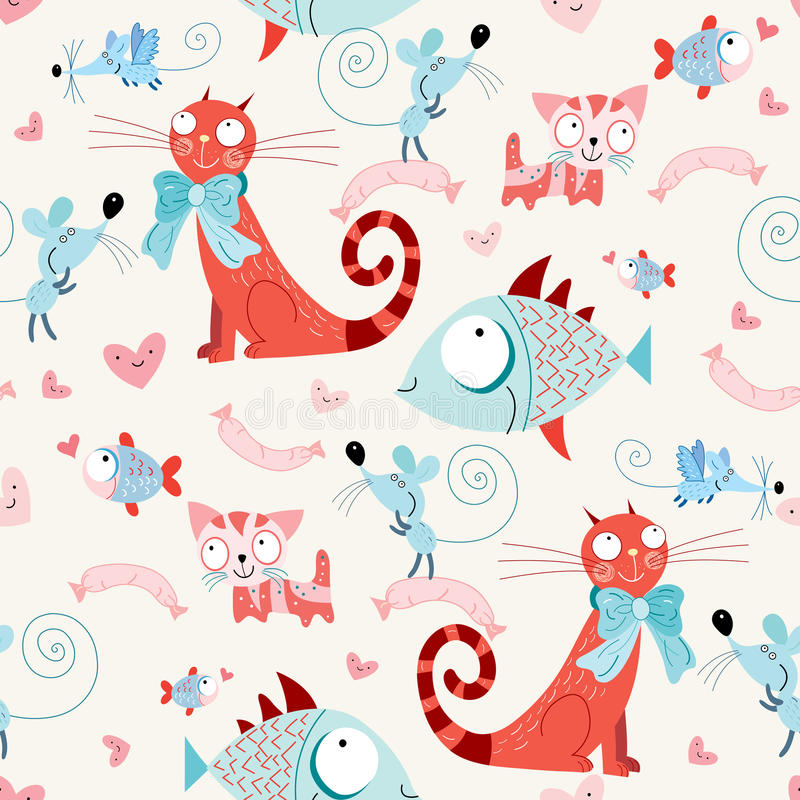 Seamless pattern of the cats and fish with mice stock illustration