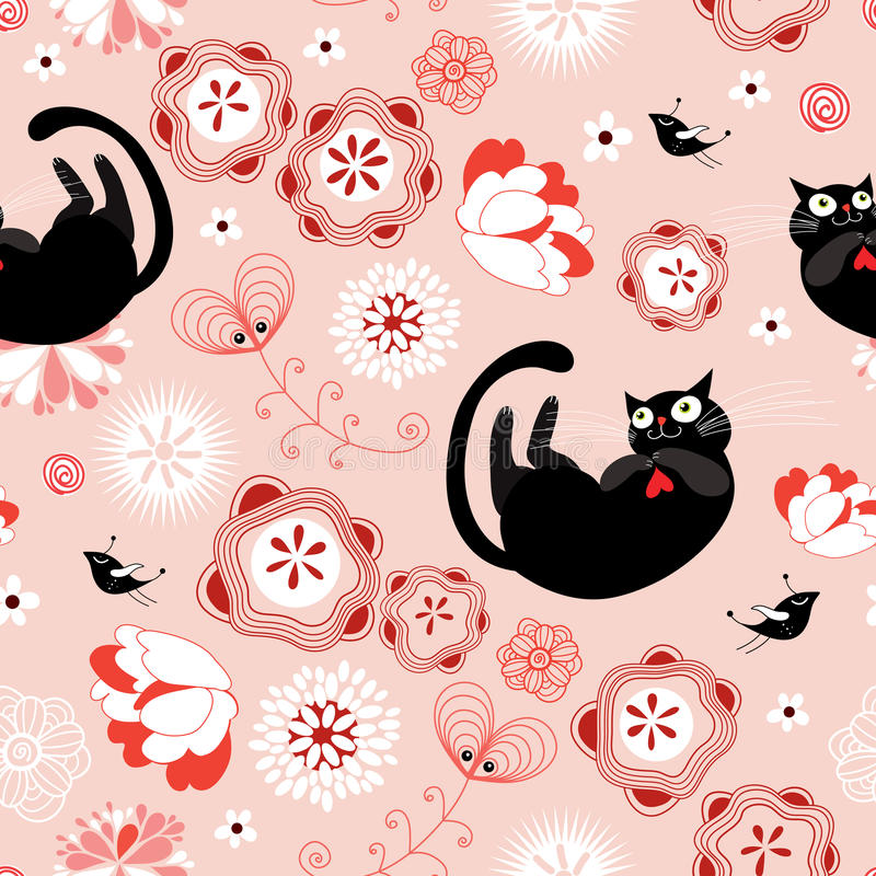 Seamless pattern of the cats and flowers stock photography