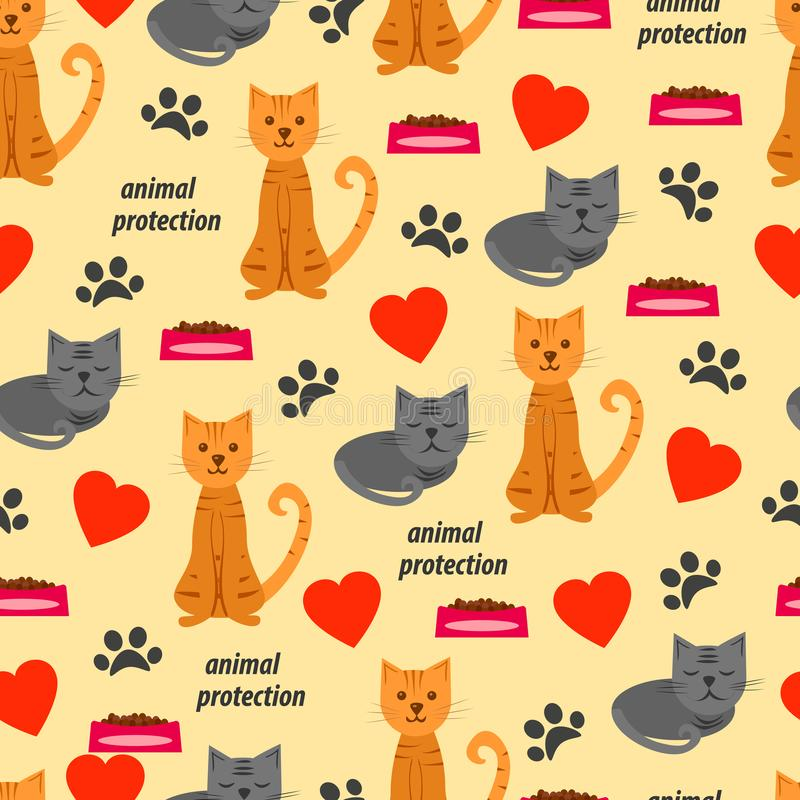 Seamless pattern with cats and food and hearts. vector illustration stock illustration