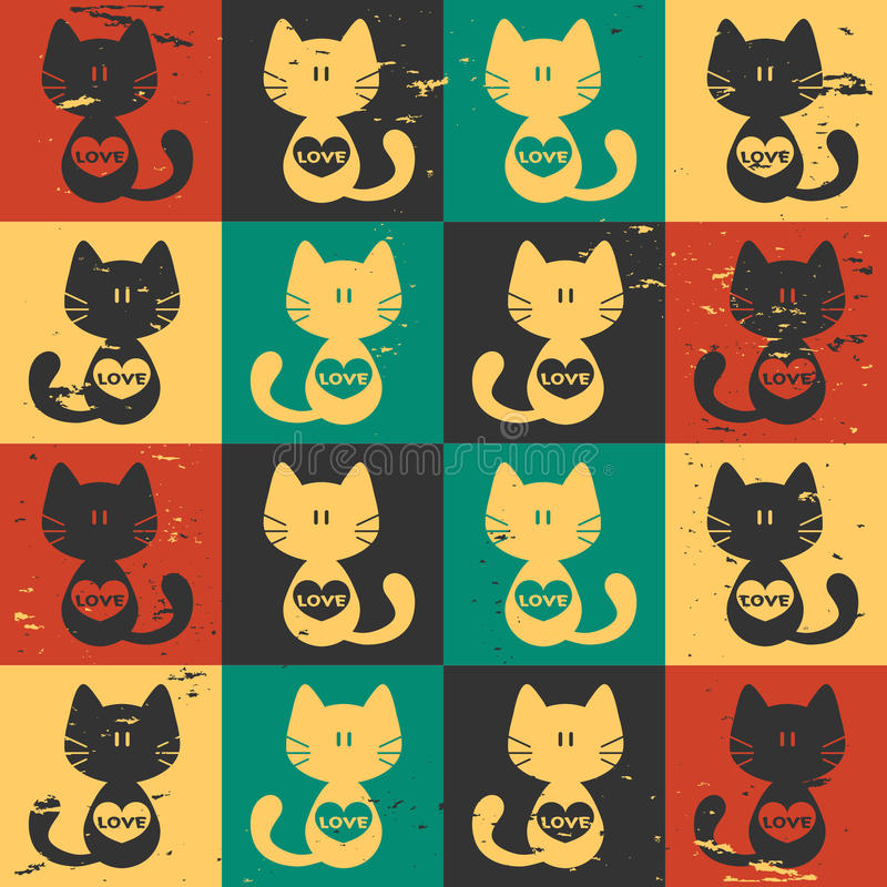 Seamless Pattern Cats With Hearts Stock Photos