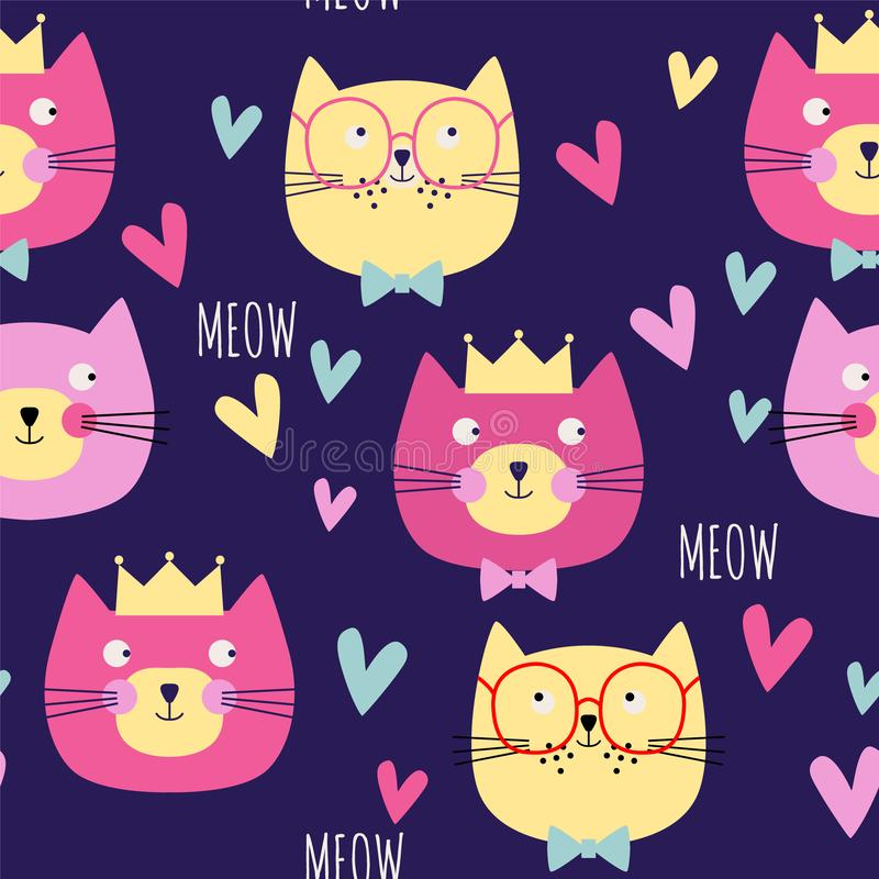 Seamless pattern with cats, hearts, crowns on dark blue background. Vector illustration. stock illustration