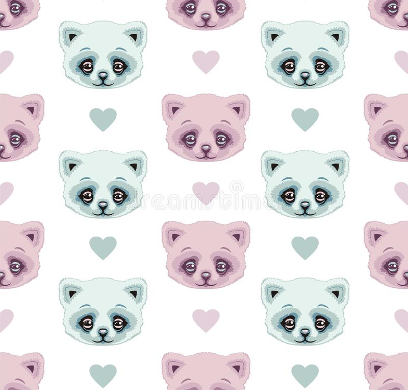 Download Seamless Pattern Cats And Hearts Pink Mint Pastel Color Stock Vector