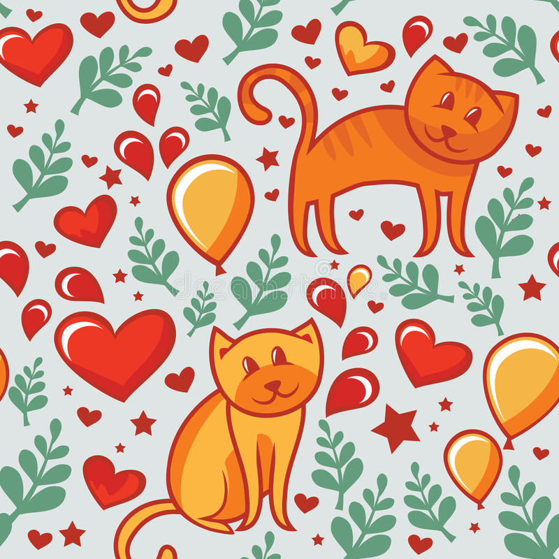 Download Seamless Pattern With Cats In Love Stock Vector - Image: 22725440