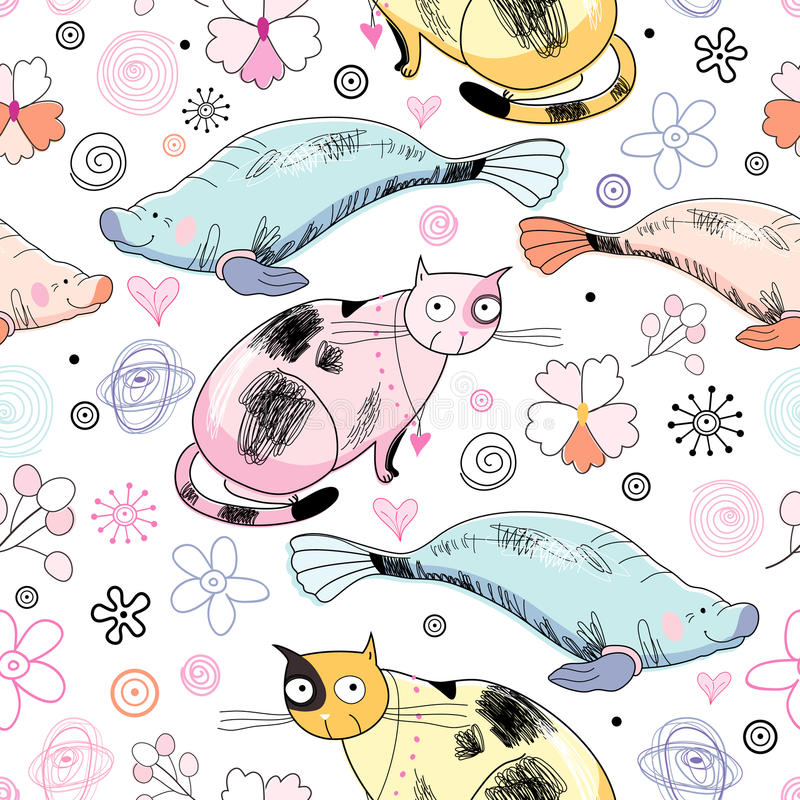 Seamless Pattern Of The Cats And Marine Animals Royalty Free Stock Photo