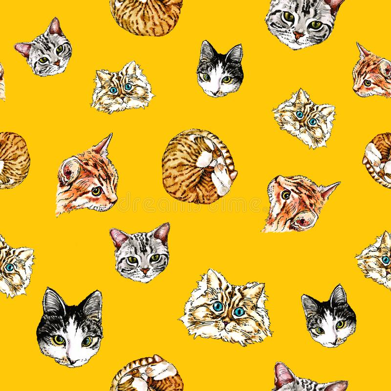 Seamless pattern with cats on an orange background. stock illustration