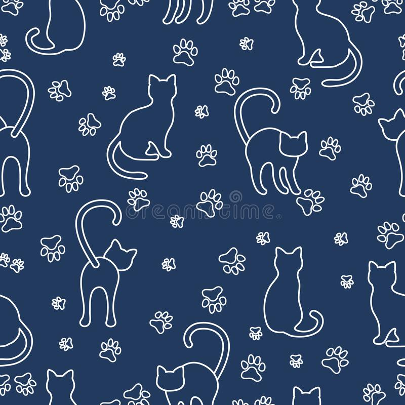 Seamless pattern with cats and traces. royalty free illustration