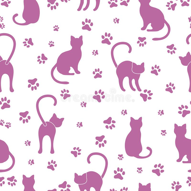 Seamless pattern with cats and traces. vector illustration