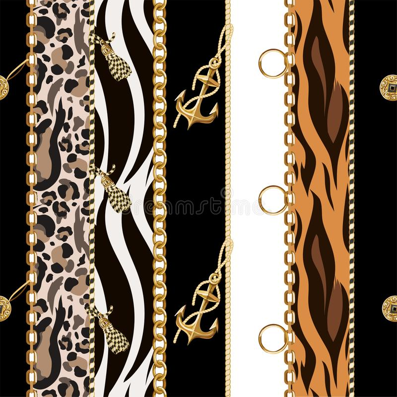 Seamless pattern with chains, anchor, coins on leopard and zebra background.Vector. royalty free illustration