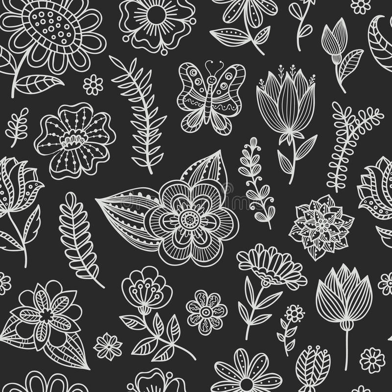 Seamless pattern with chalk flowers. stock illustration