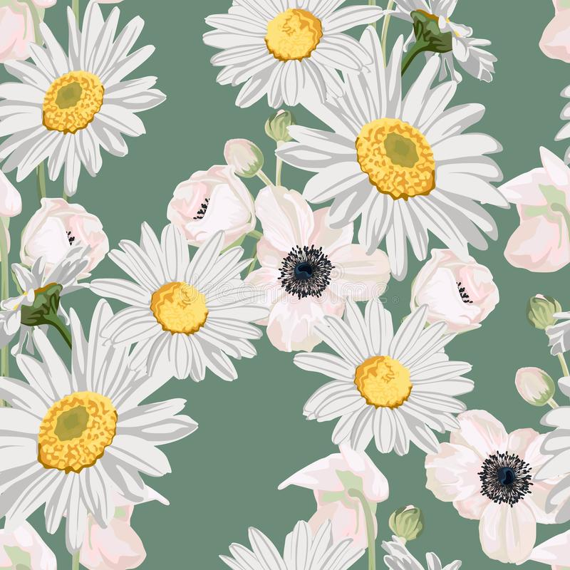 Seamless pattern with chamomile camomile, leaves, and anemones flowers on green background. stock illustration