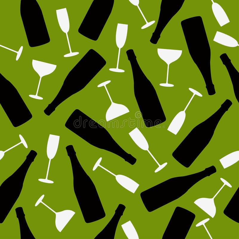 Seamless pattern of champagne and glasses royalty free illustration