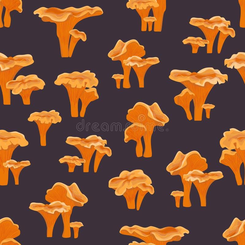 Seamless pattern. Chanterelle mushrooms on a blue background. Forest mushrooms stock illustration