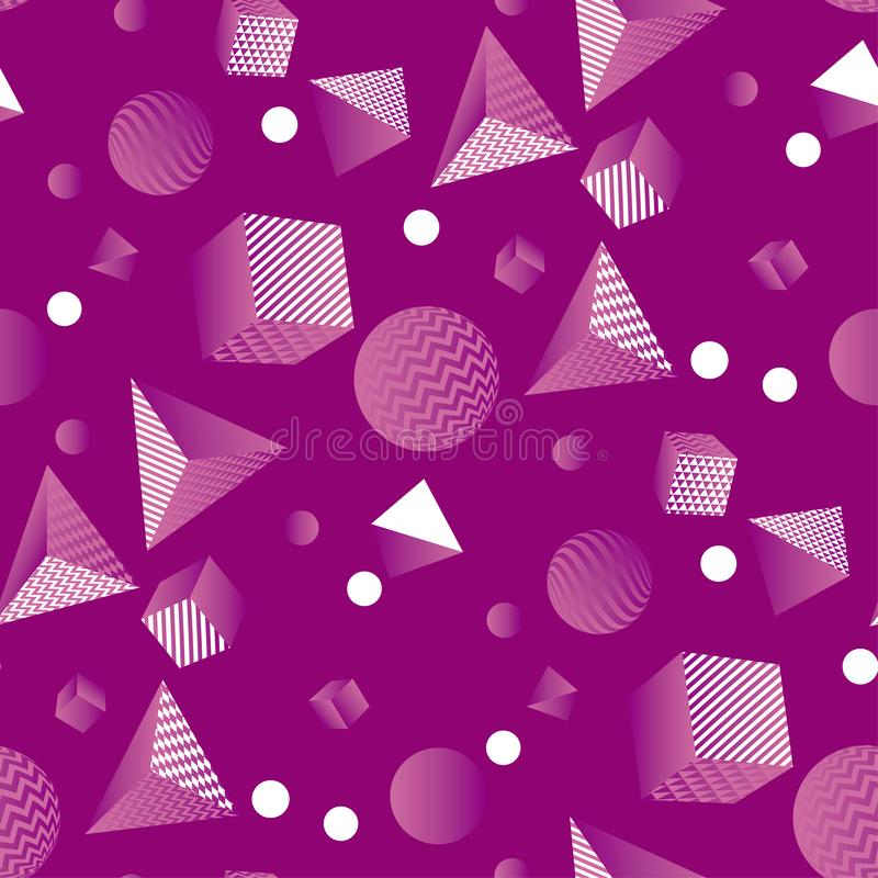 Seamless pattern with the chaos of geometric forms. Purple space geometric seamless pattern with the chaos of geometric forms and shapes. Geom repeatable motif royalty free illustration