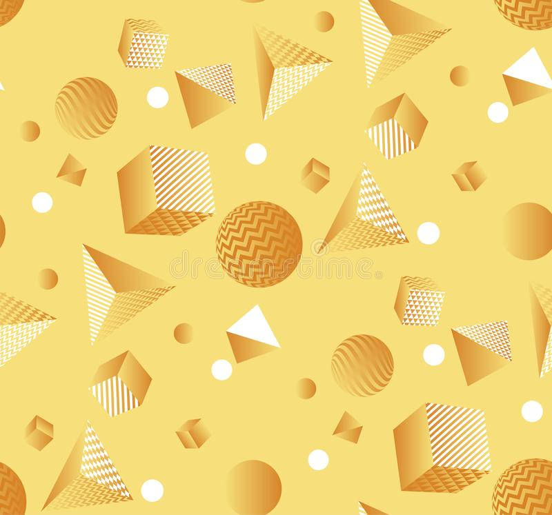 Seamless pattern with the chaos of geometric forms. Sunny yellow geometric seamless pattern with the chaos of geometric forms and shapes. Abstract geom royalty free illustration