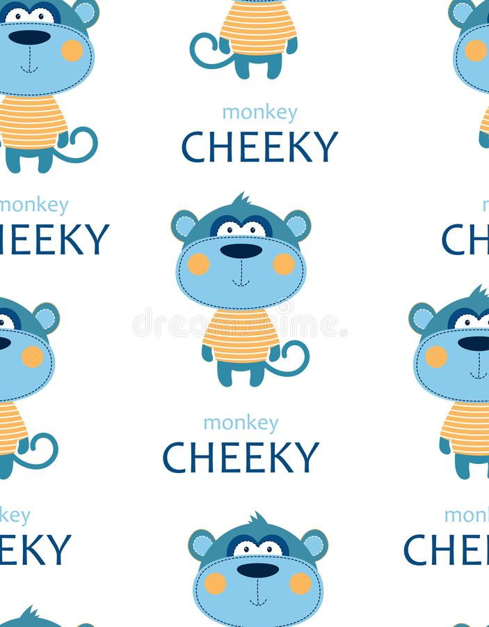 Seamless pattern with cheeky monkey. Seamless pattern of cheeky monkey in striped tshirt with lettering isolated on white background, tshirt design for kids royalty free illustration