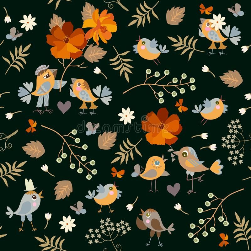Seamless pattern with cheerful cute cartoon birds, orange flowers, bird cherry berries, leaves and hearts on black background. Fashionable print royalty free illustration