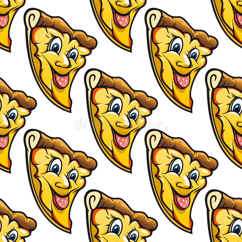 Seamless pattern of cheesy salami cartoon pizza vector illustration