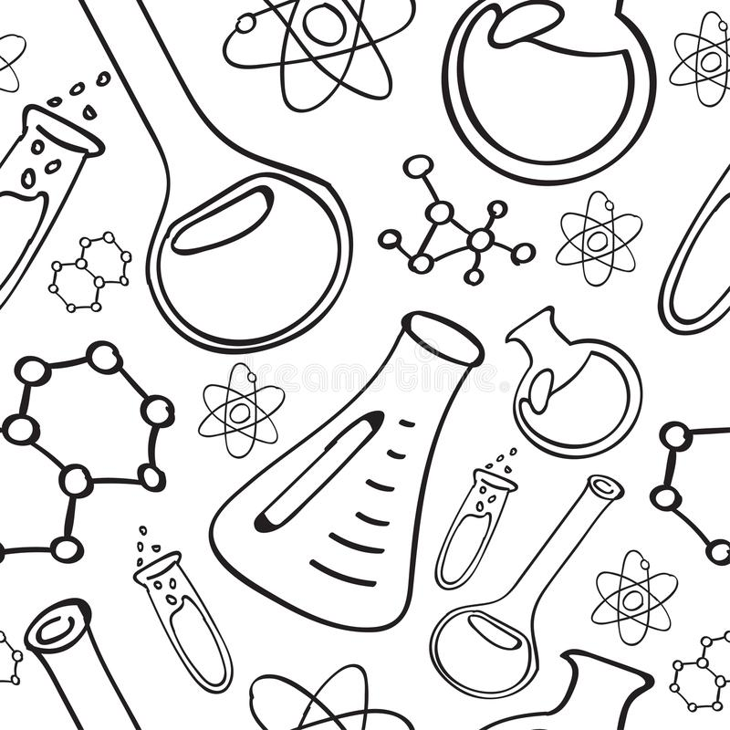Chemical Doodles Seamless Pattern Stock Vector