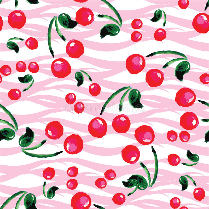 Seamless pattern with cherries . Hand drawing watercolor vector illustration