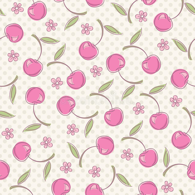 Seamless pattern with cherries royalty free illustration