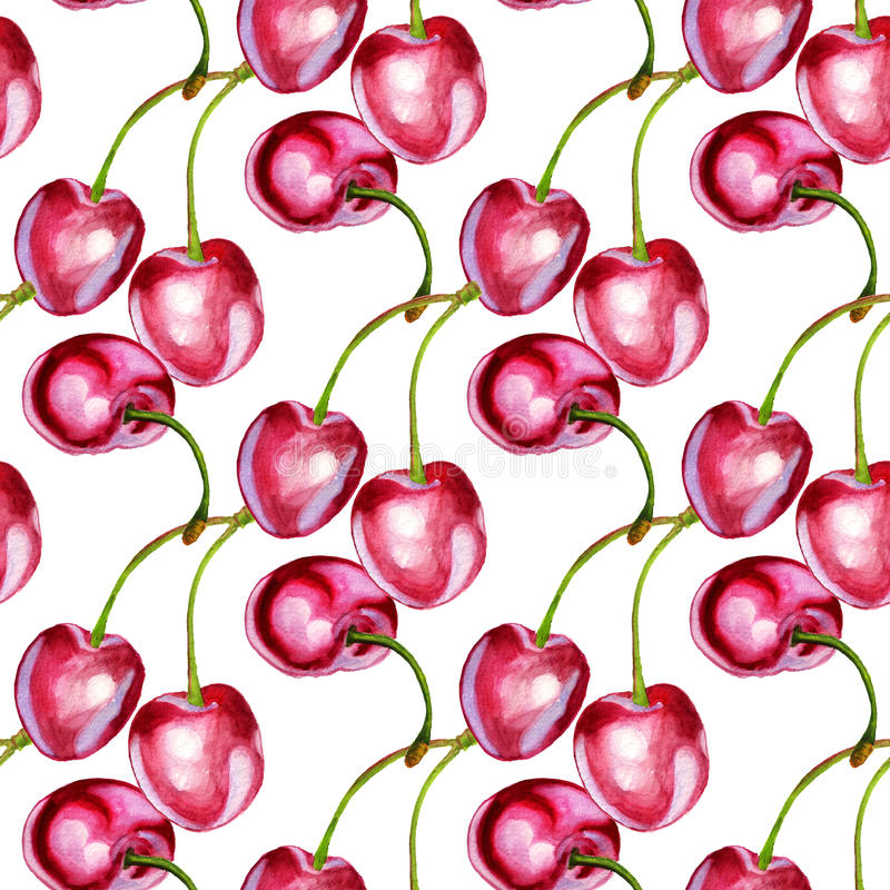 Seamless pattern with cherries stock illustration