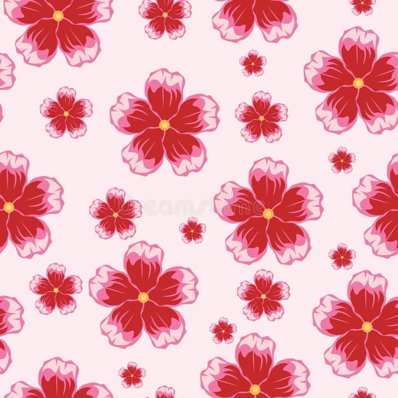 Seamless pattern with cherry blossoms. Pattern background with pink floral motifs element vector illustration