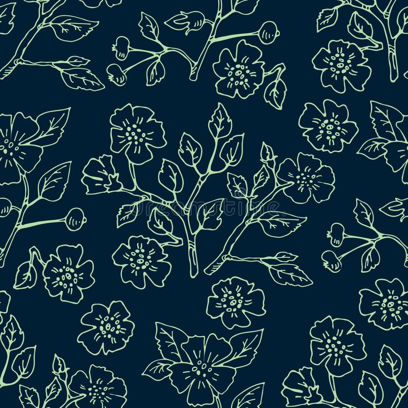 Cherry blossoms-03. Seamless pattern with cherry blossoms. Hand drawn style. Design element for fabric, wallpaper or gift wrap royalty free illustration