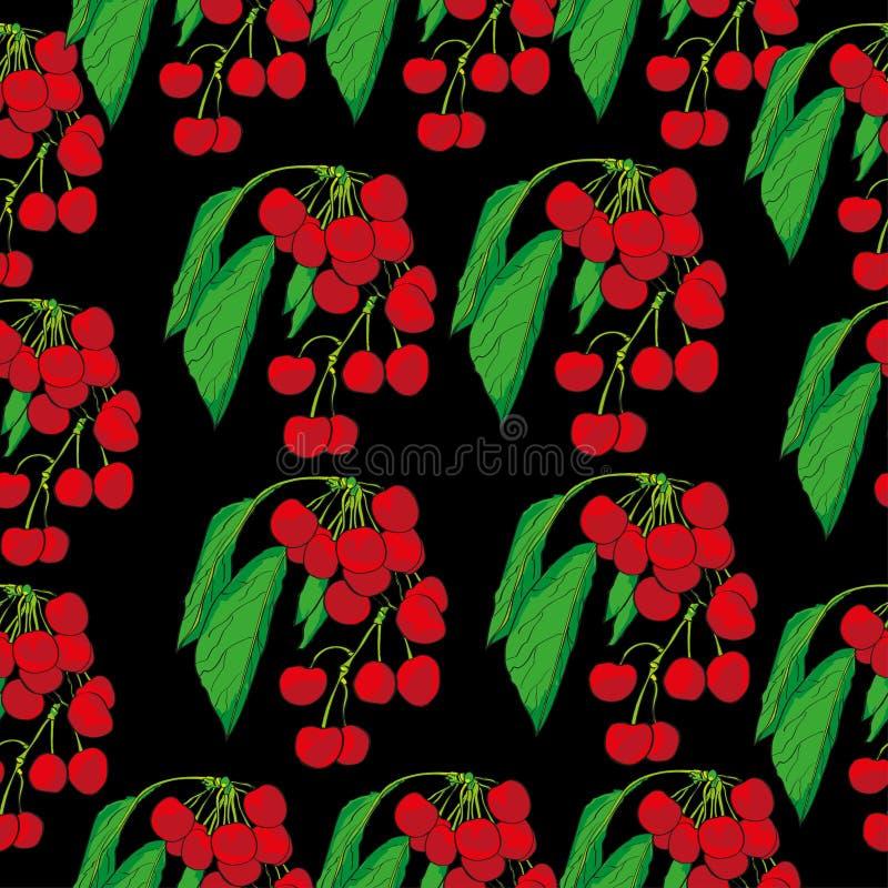 Seamless pattern cherry branch on a black background stock illustration