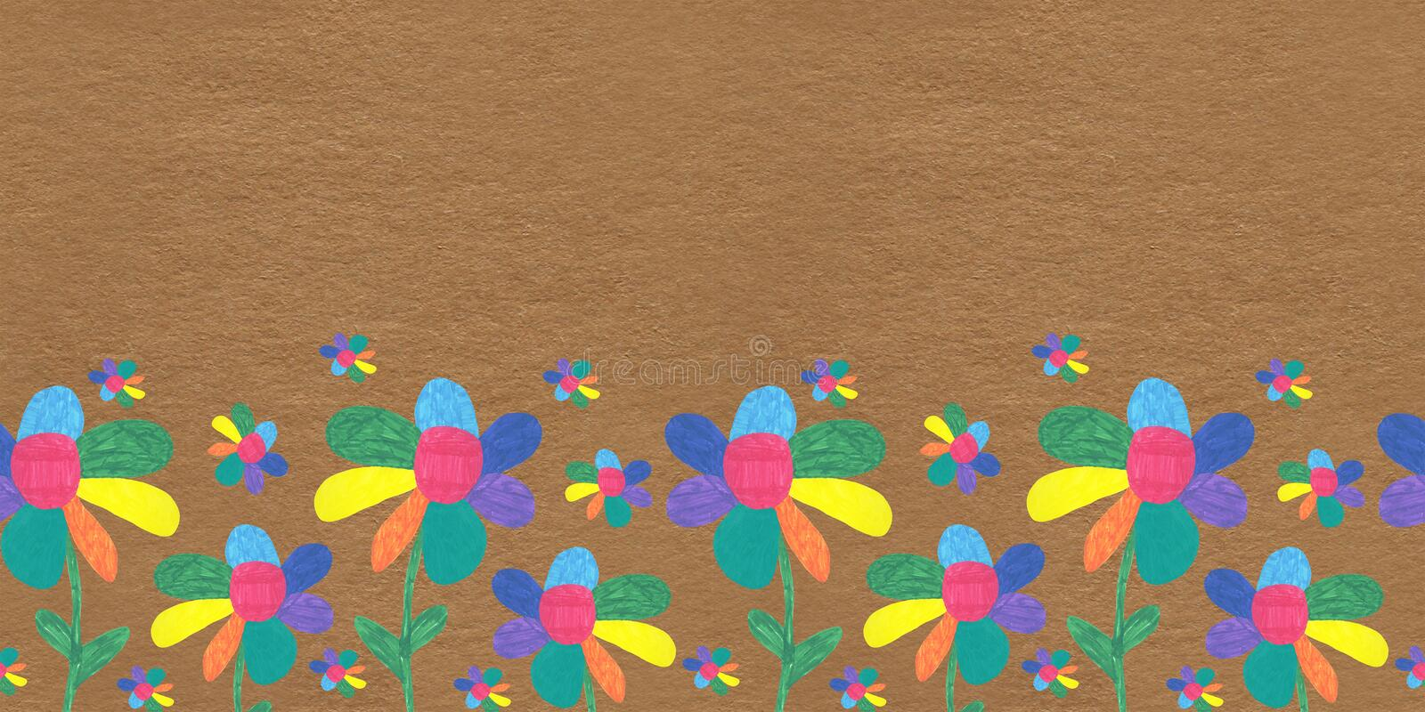 Seamless pattern children drawing flowers meadow multicolored Sunny summer Wallpaper white background red yellow green blue print stock image