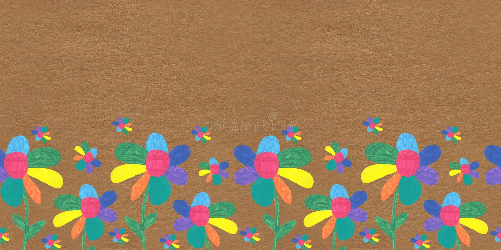Seamless pattern children drawing flowers meadow multicolored Sunny summer Wallpaper white background red yellow green blue print stock photo