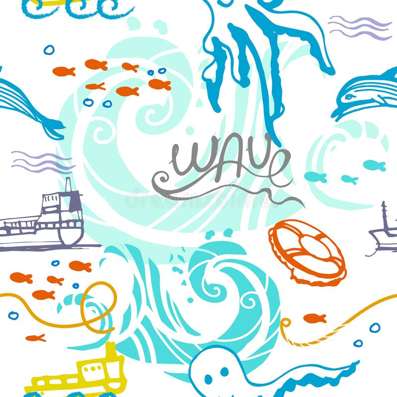 Seamless pattern for children on the marine theme royalty free illustration