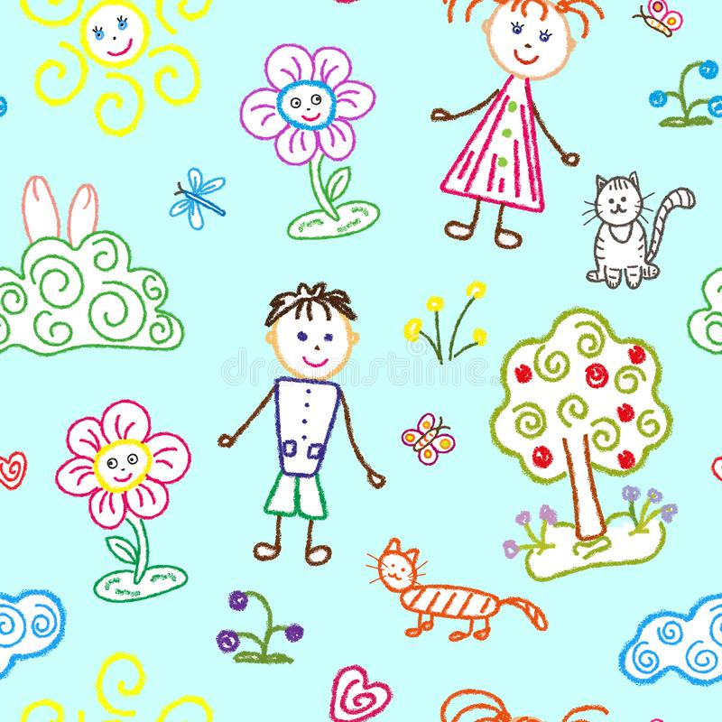 Seamless pattern, children`s drawings with a pencil and chalk on a blue background. Children boy and girl, sun and clouds, cats royalty free illustration