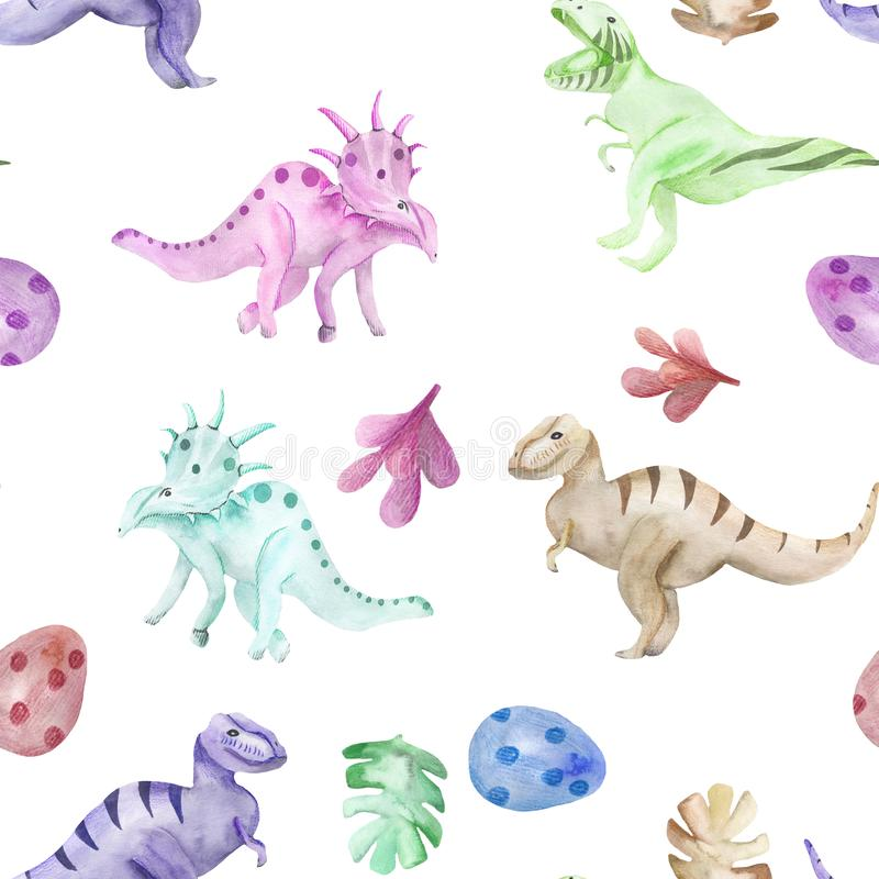 Seamless pattern on a children`s theme watercolor dinosaurs vector illustration