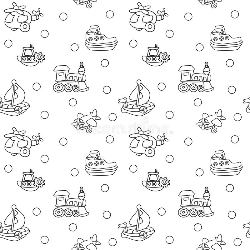 Seamless pattern with childrens toys. Endless texture can be used for printing onto fabric, paper or scrap booking, wallpaper, pattern fills, web page vector illustration