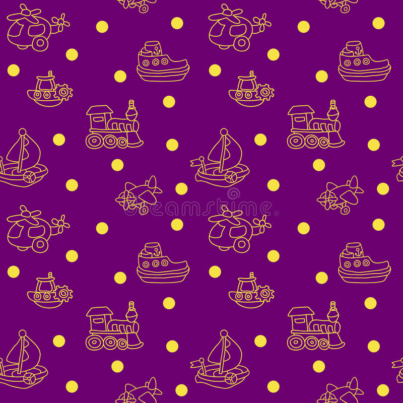 Seamless pattern with childrens toys. Endless texture can be used for printing onto fabric, paper or scrap booking, wallpaper, pattern fills, web page royalty free illustration