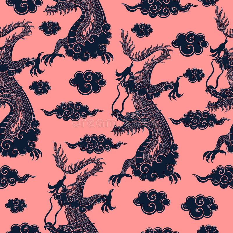 Seamless pattern with Chinese dragon in blue on a pink background. Vector graphics. Seamless pattern with Chinese dragon in blue on a pink background. Vector stock illustration