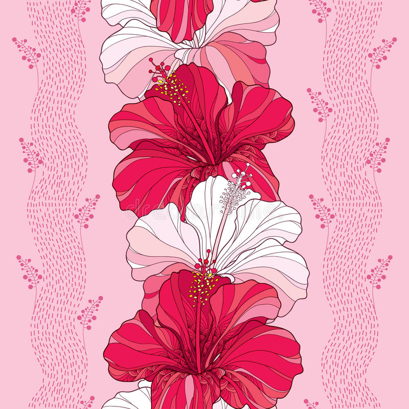 Seamless pattern with Chinese Hibiscus flower in red and in white on the pink background with stripes.  vector illustration