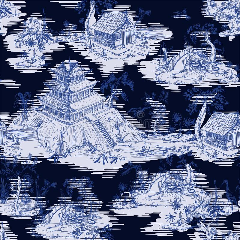 Seamless pattern in chinoiserie style for fabric or interior design. stock photo