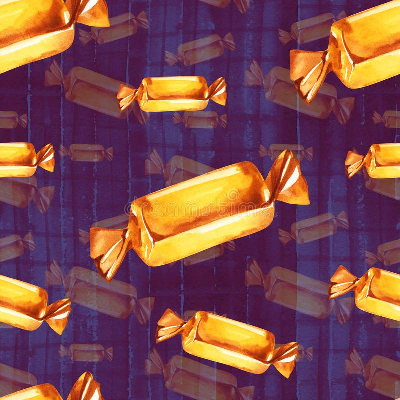 Seamless pattern with chocolate candy in gold foil. Use for textile, wrapping paper, wallpaper, and other design. Drawing with watercolor stock illustration