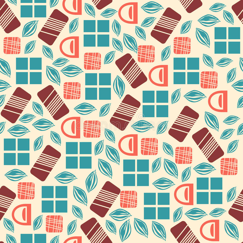 Seamless pattern with chocolate sweets on white background. Assortment of chocolate items. Various tasty gourmet products. Can be used for wallpaper and royalty free illustration